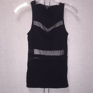 XS Express Black tank top with mesh cutouts